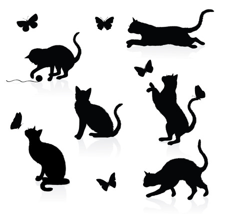 Silhouettes of cats with butterflies. Vector