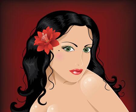 dark hair: Mujer del C�ucaso con ojos verdes, cabello oscuro y flor roja.