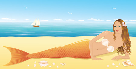 A beautiful mermaid laying on the beach. Vector