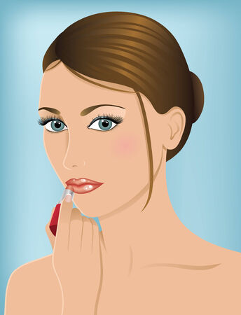 light brown hair: Caucasian woman with blue eyes and light brown hair holding a lipstick.