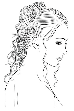 naked woman back: Outline of a woman with a beautiful hair style. Illustration