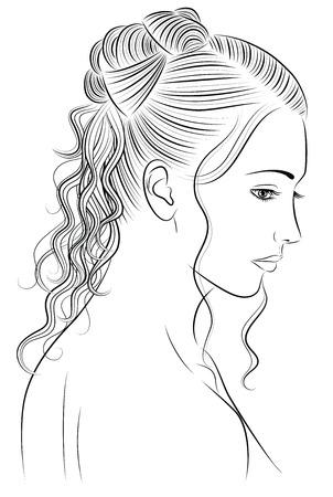 Umriss einer Frau mit einem schönes Haar-Stil.