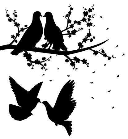 Silhouettes of flying pigeons and of two pigeons sitting on the branch of cherry blossom and kissing. Vector