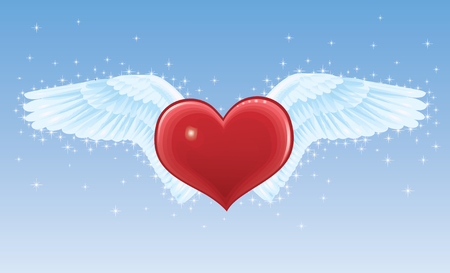 rear wing: Red heart with wings on a blue background.