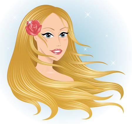 Leiter der eine junge schöne Frau mit langem Haar.