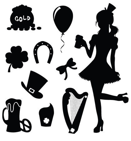 Set of silhouettes for St. Patricks Day. Vector