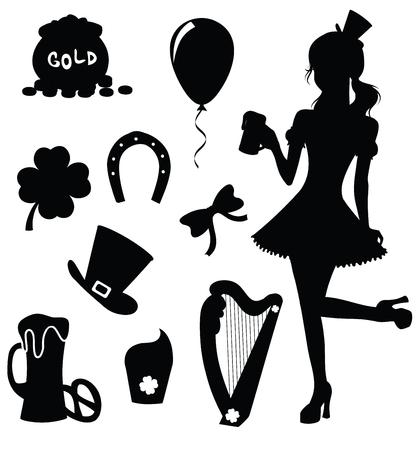 irish woman: Set of silhouettes for St. Patricks Day. Illustration