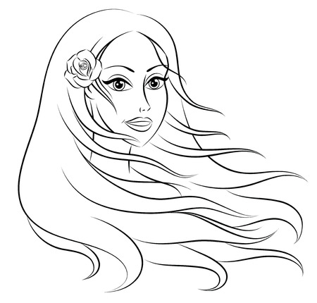 Outline of a head of a young beautiful woman with long hair. Vector