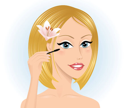 Woman with blond hair holding a mascara on the blue background. Vector