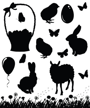 Set of silhouettes for Easter. Vector