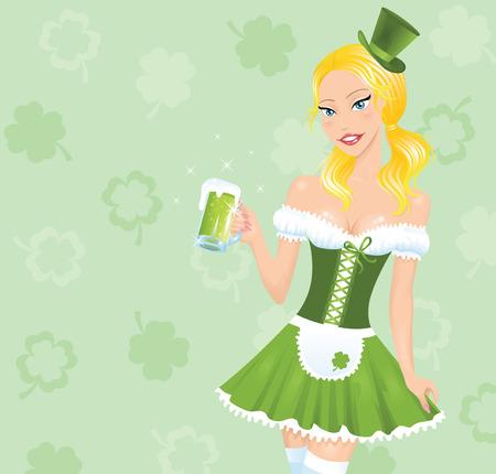 Irish looking cartoon girl holding mug of a beer.  Vector