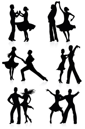 latin american: Set of silhouettes of dancing couples.
