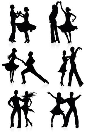 hispanics: Set of silhouettes of dancing couples.