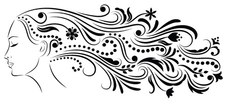 flower clip art: Outline of a profile of a young woman with abstract hair.