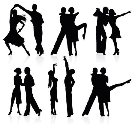 danza contemporanea: Conjunto de siluetas de parejas de baile.