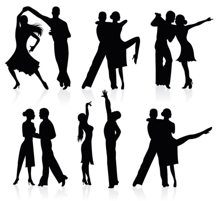 modern  dance: Set of silhouettes of dancing couples.