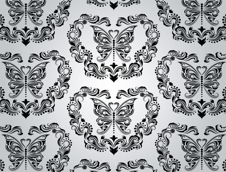 Seamless floral wallpaper on the grey background. Vector
