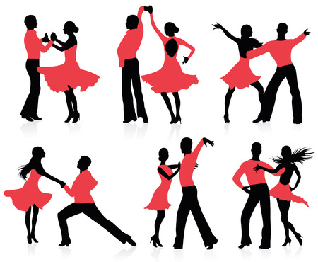 beauty contest: Set of silhouettes of dancing couples.