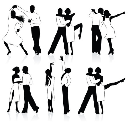 Set of  silhouettes of a dancing couple. Stock Vector - 6600211