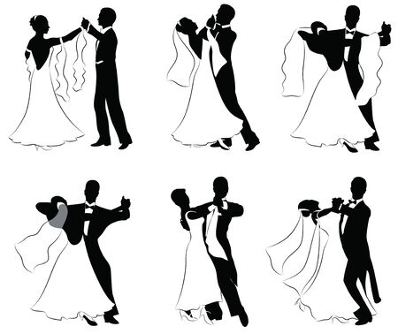 wedding dress back: Set of silhouettes of dancing married couples.