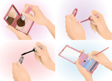 french manicure: Set of female hands holding cosmetics. Illustration