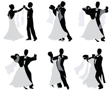 newlyweds: Set of  silhouettes of dancing married couples.
