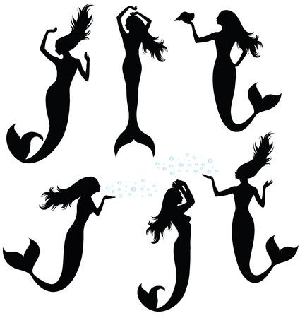 Set of silhouettes of mermaid.