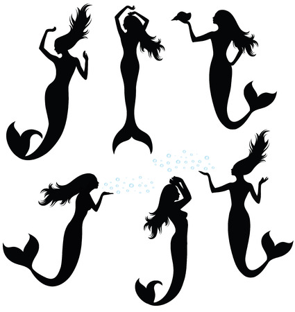 fin swimming: Set of silhouettes of mermaid.