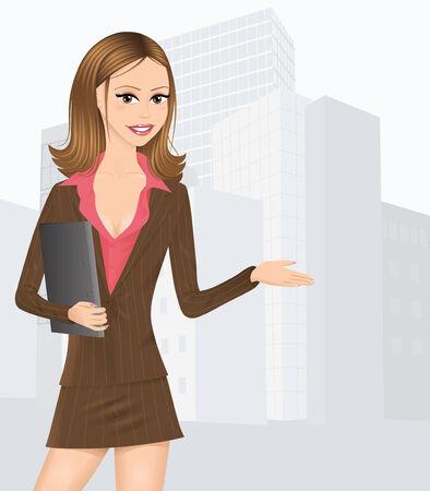 서류 가방을 들고 갈색 양복에 귀여운 비즈니스 아가씨. 백그라운드에서 큰 도시입니다.