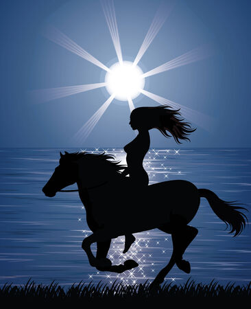 running back: Silhouette of a woman riding a horse on the shore.