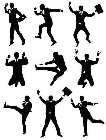 hombre cayendo: Conjunto de siluetas de un empresario de saltar.  Vectores