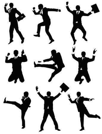 Set of silhouettes of a businessman jumping.