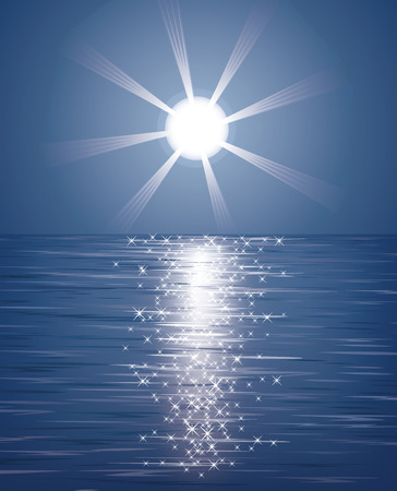 The sun over the sea. Illustration