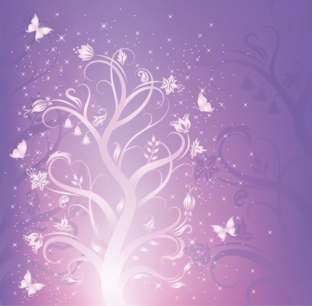 fairytale background: Elegant flower pattern with butterflies on the violet background. Illustration