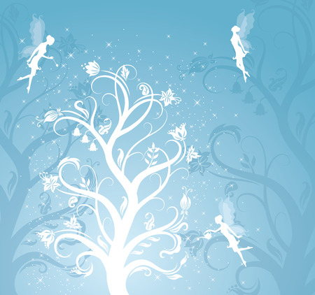 Magic flower pattern with fairies on the blue background. Stock Vector - 6976857