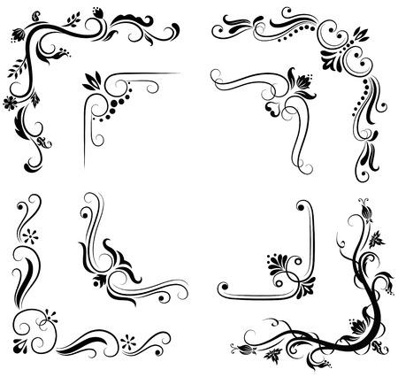 Set of ornate corner designs.  Vector