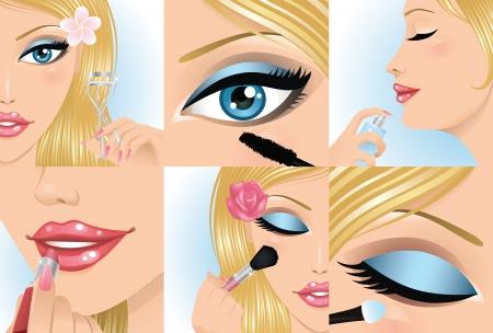 eyebrow makeup: Set di parte del corpo femminile.