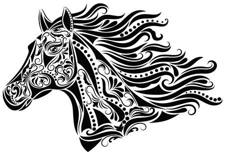 cabeza de caballo: Patr�n en forma de una cabeza de caballo. Vectores