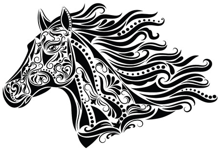 black horses: Pattern in a shape of a horse head.
