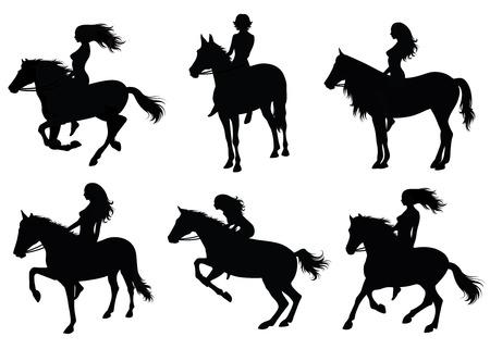 mujer en caballo: Conjunto de una silueta de una mujer que montar un caballo.