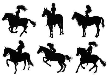 Set of a silhouette of a woman riding a horse.