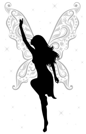 nude woman: silhouette of a fairy with pattern in a shape of wings.