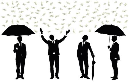 Silhouettes of a businessman standing under money rain.