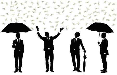 set of money: Silhouettes of a businessman standing under money rain.