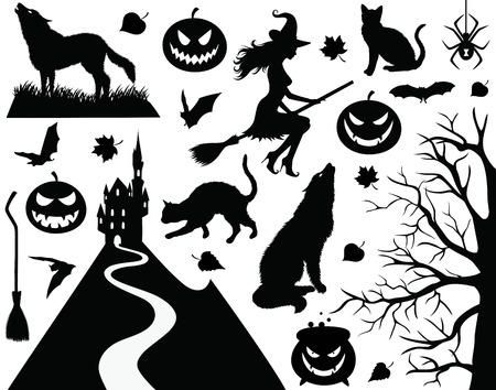 Collection of a halloween silhouettes. Vector