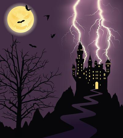 Volle maan, vliegende vleermuizen en silhouet van een kasteel op een berg. Vector Illustratie