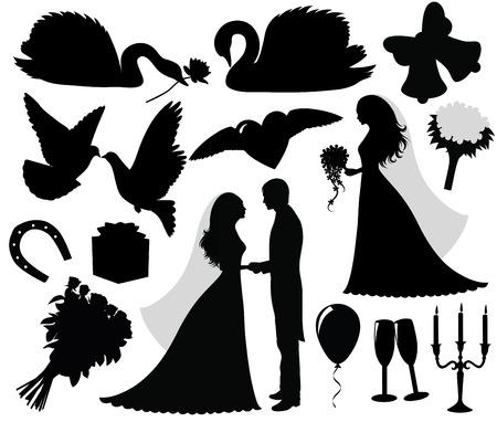 Collection d'un silhouettes de mariage. Banque d'images - 7568723