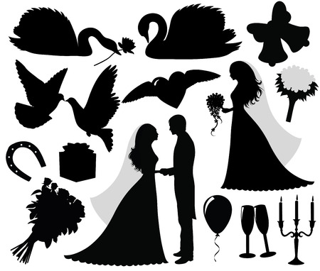 Collection of a wedding silhouettes. Vector
