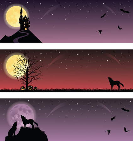 horror castle: Set of a halloween banners. Illustration