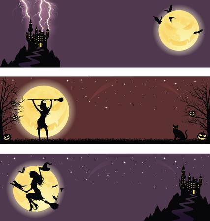 horror castle: Conjunto de un banners de halloween.  Vectores